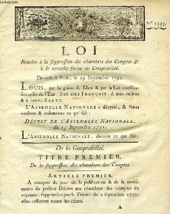 LOI, N° 1333, RELATIVE A LA SUPPRESSION DES CHAMBRES DES COMPTES & A LA NOUVELLE FORME DE COMPTABILITE