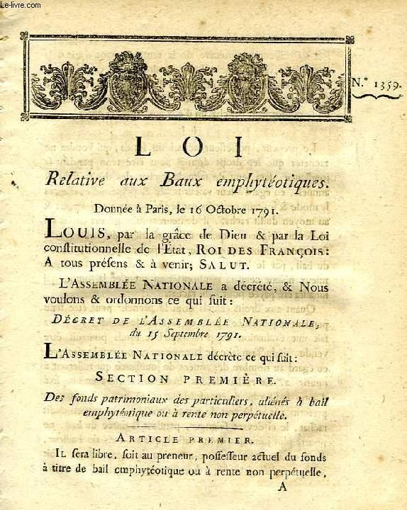 LOI, N° 1359, RELATIVE AUX BAUX EMPHYTEOTIQUES