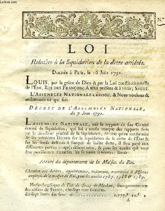 LOI, N° 10, RELATIVE A LA LIQUIDATION DE LA DETTE ARRIEREE