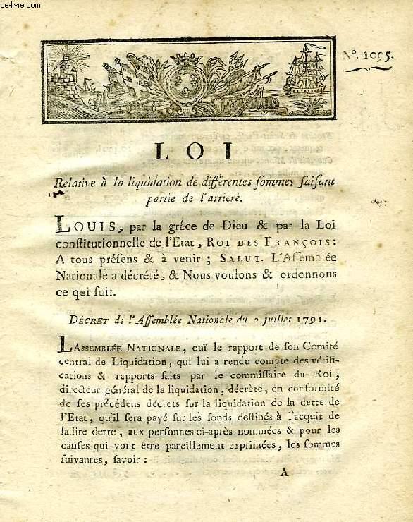 LOI, N° 1095, RELATIVE A LA LIQUIDATION DE DIFFERENTES SOMMES FAISANT PARTIE DE L'ARRIERE