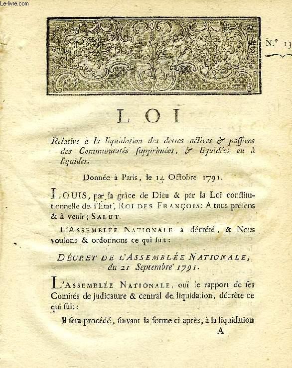 LOI, N° 1364, RELATIVE A LA LIQUIDATION DES DETTES ACTIVES & PASSIVES DES COMMUNAUTES SUPPRIMEES, & LIQUIDEES OU A LIQUIDER