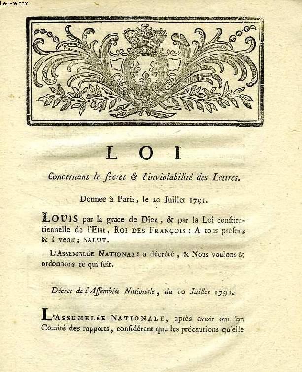 LOI, CONCERNANT LE SECRET & L'INVIOLABILITE DES LETTRES