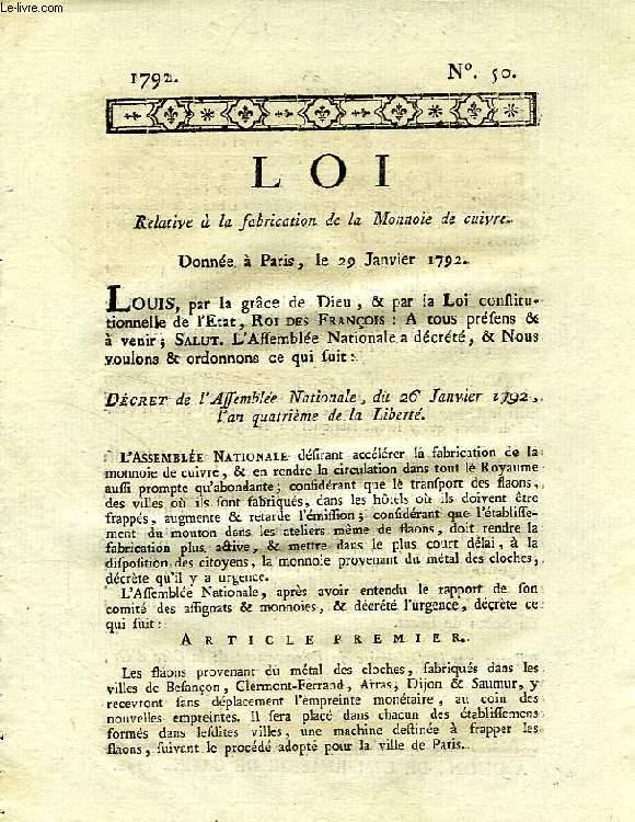 LOI, N° 50, RELATIVE A LA FABRICATION DE LA MONNAIE DE CUIVRE