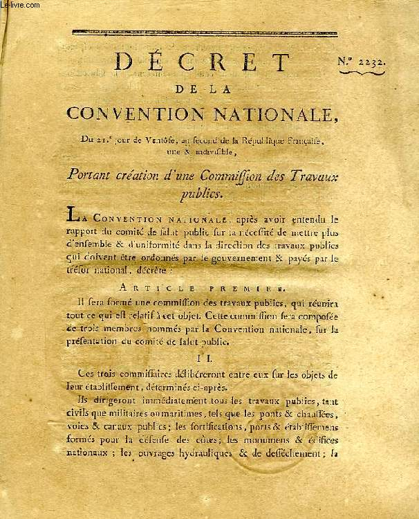 DECRET DE LA CONVENTION NATIONALE, N° 2232, PORTANT CREATION D'UNE COMMISSION DES TRAVAUX PUBLICS