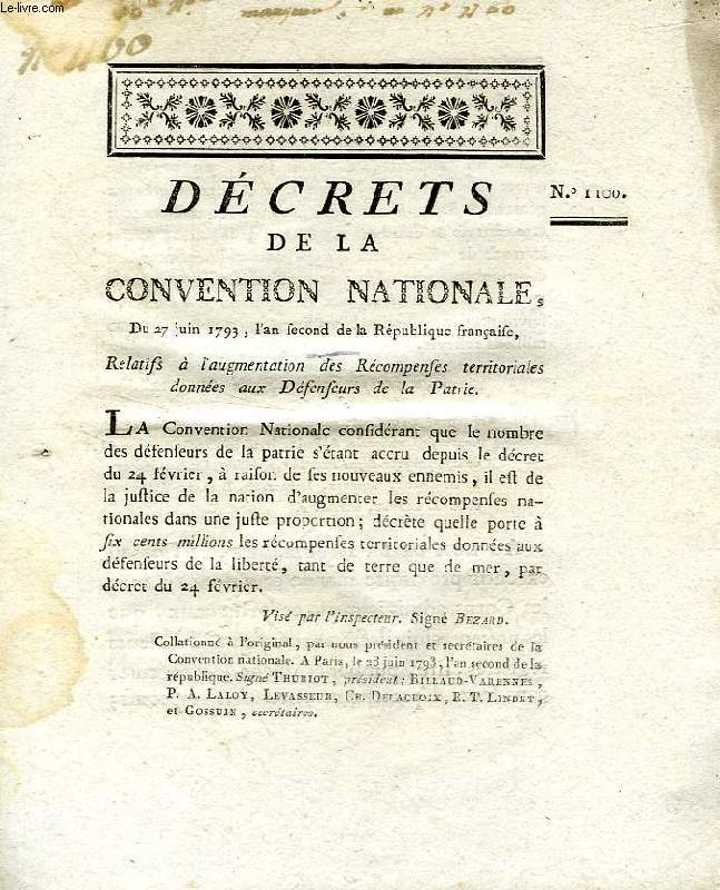 DECRETS DE LA CONVENTION NATIONALE, N° 1100, RELATIFS A L'AUGMENTATION DES RECOMPENSES TERRITORIALES DONNEES AUX DEFENSEURS DE LA PATRIE