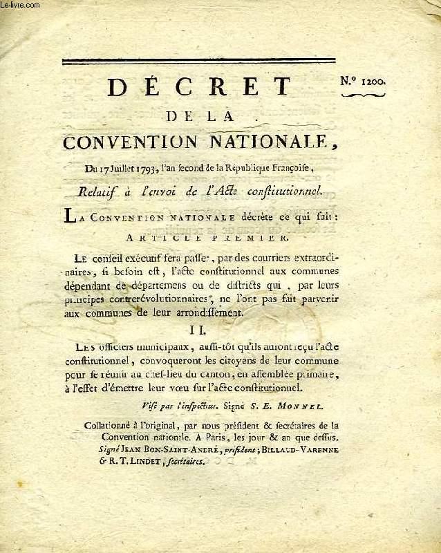 DECRET DE LA CONVENTION NATIONALE, N° 1200, RELATIF A L'ENVOI DE L'ACTE CONSTITUTIONNEL