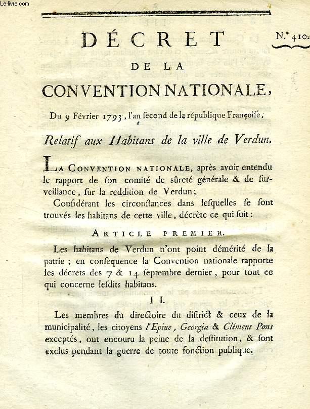 DECRET DE LA CONVENTION NATIONALE, N° 410, RELATIF AUX HABITANS DE LA VILLE DE VERDUN