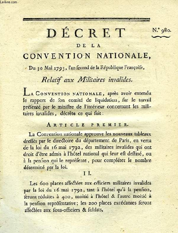DECRET DE LA CONVENTION NATIONALE, N° 980, RELATIF AUX MILITAIRES INVALIDES