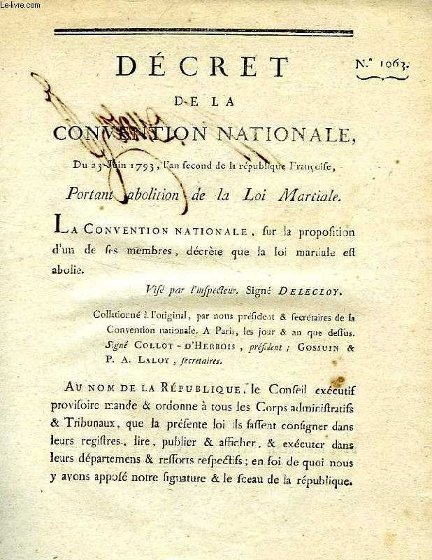DECRET DE LA CONVENTION NATIONALE, N° 1063, PORTANT ABOLITION DE LA LOI MARTIALE