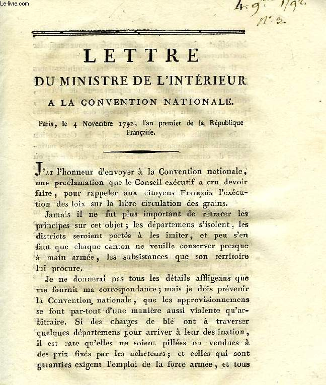 LETTRE DU MINISTRE DE L'INTERIEUR A LA CONVENTION NATIONALE