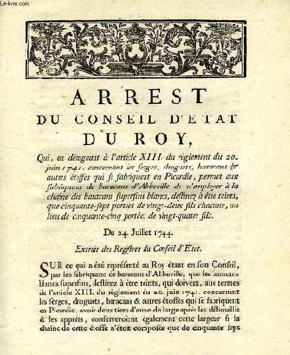 ARREST DU CONSEIL D'ETAT DU ROY, DU 24 JUILLET 1744