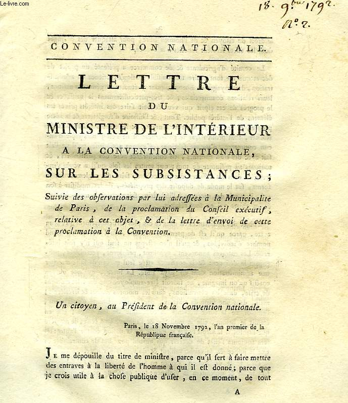 LETTRE DU MINISTRE DE L'INTERIEUR A LA CONVENTION NATIONALE, SUR LES SUBSISTANCES