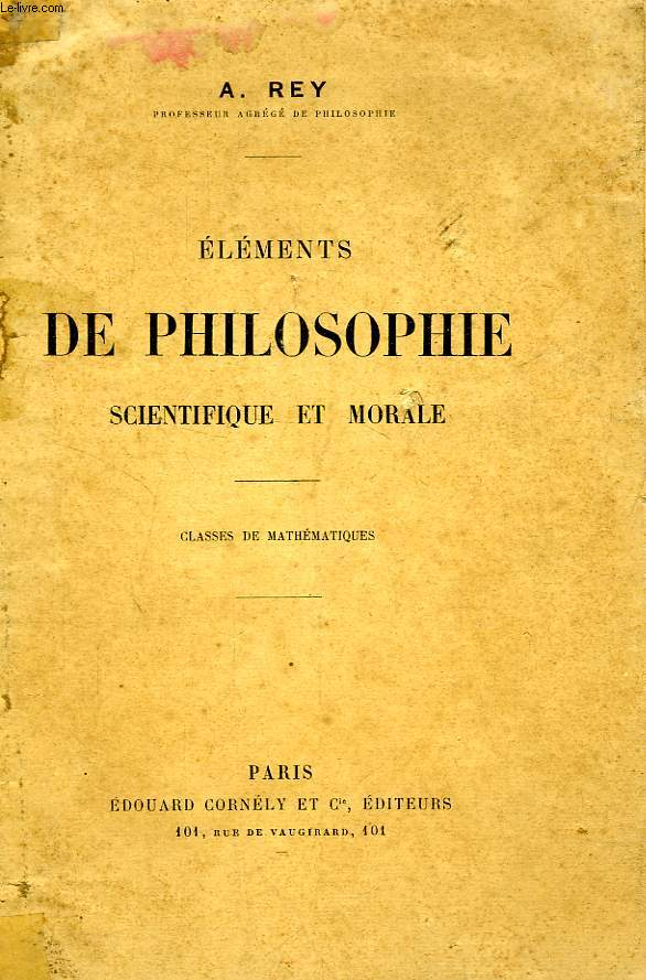 ELEMENTS DE PHILOSOPHIE SCIENTIFIQUE ET MORALE, CLASSES DE MATHEMATIQUES