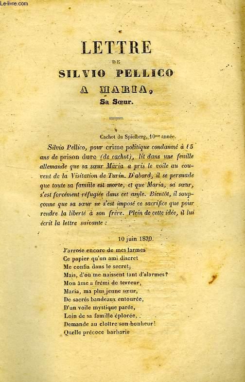 LETTRE DE SILVIO PELLICO A MARIA SA SOEUR