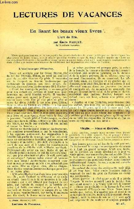 LECTURES DE VACANCES, N° 49, EN LISANT LES BEAUX VIEUX LIVRES, L'ART DE LIRE