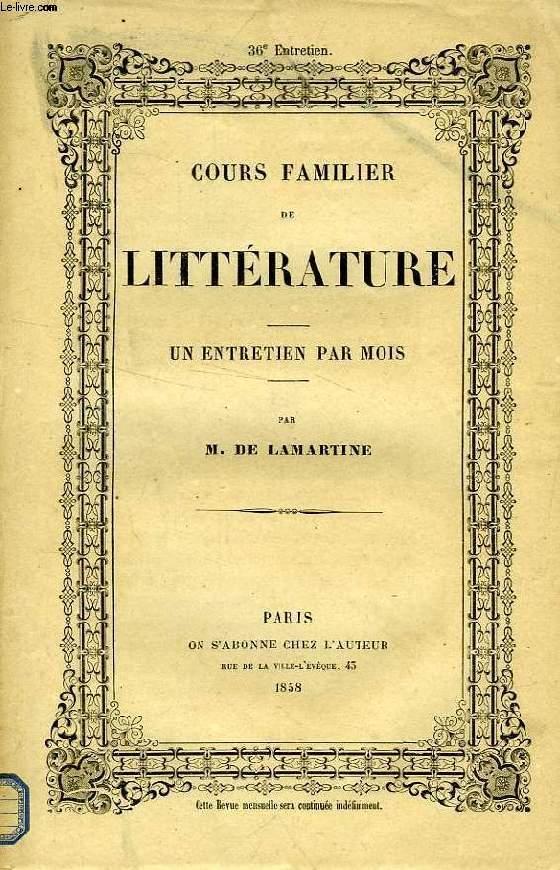 COURS FAMILIER DE LITTERATURE, XXXVIe ENTRETIEN, LA LITTERATURE DES SENS, LA PEINTURE, LEOPOLD ROBERT (I)