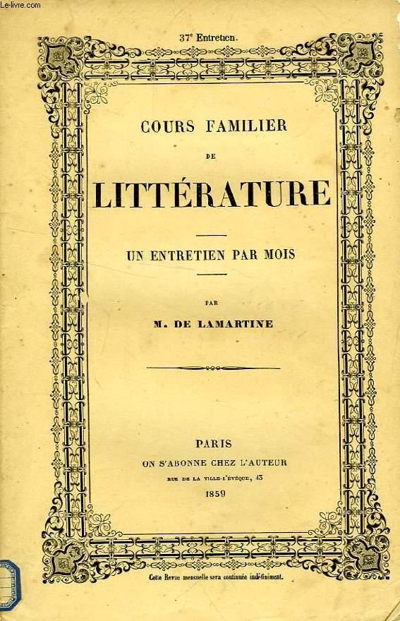 COURS FAMILIER DE LITTERATURE, XXXVIIe ENTRETIEN, LA LITTERATURE DES SENS, LA PEINTURE, LEOPOLD ROBERT (2e PARTIE)