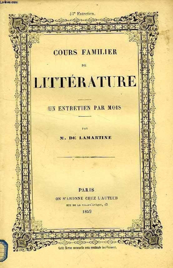 COURS FAMILIER DE LITTERATURE, XLIIIe ENTRETIEN,  VIE ET OEUVRES DU COMTE DE MAISTRE (2e PARTIE)