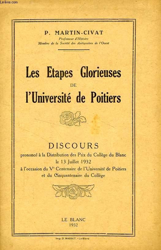 LES ETAPES GLORIEUSES DE L'UNIVERSITE DE POITIERS, DISCOURS
