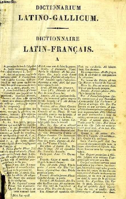 DICTIONARIUM LATINO-GALLICUM, DICTIONNAIRE LATIN-FRANCAIS