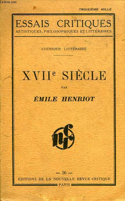 COURRIER LITTERAIRE, XVIIe SIECLE