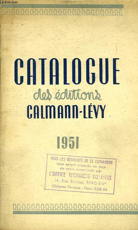 CATALOGUE DES EDITIONS CALMANN-LEVY, MAI 1951