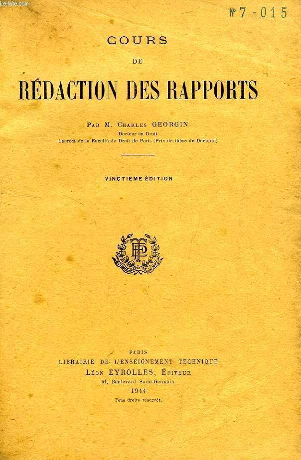 COURS DE REDACTION DES RAPPORTS