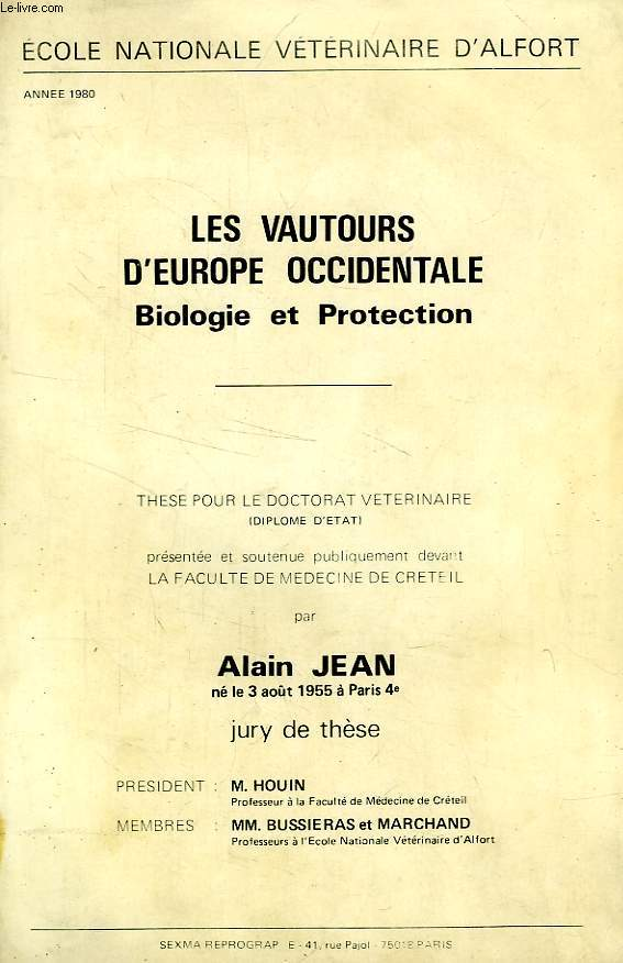 Les vautours d europe occidentale, biologie et protection (these)