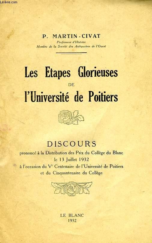 LES ETAPGES GLORIEUSES DE L'UNIVERSITE DE POITIERS, DISCOURS