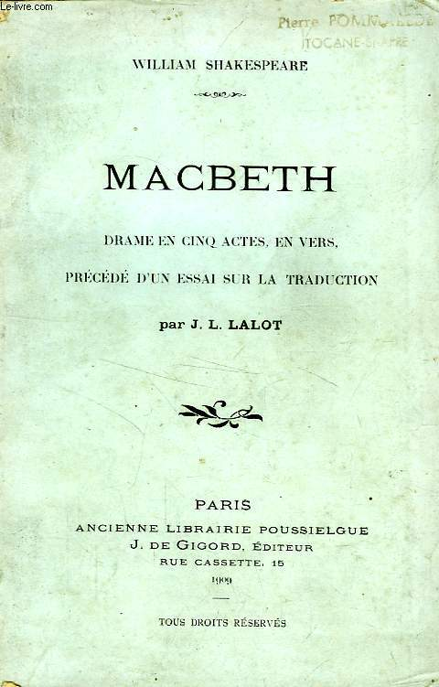 MACBETH, DRAME EN 5 ACTES EN VERS