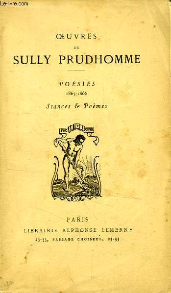 OEUVRES DE SULLY PRUDHOMME, POESIES, 1865-1866, STANCES & POEMES