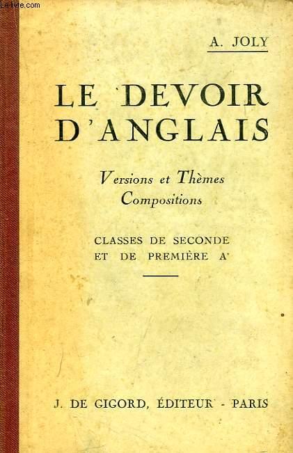 LE DEVOIR D'ANGLAIS, VERSIONS ET THEMES, COMPOSITIONS