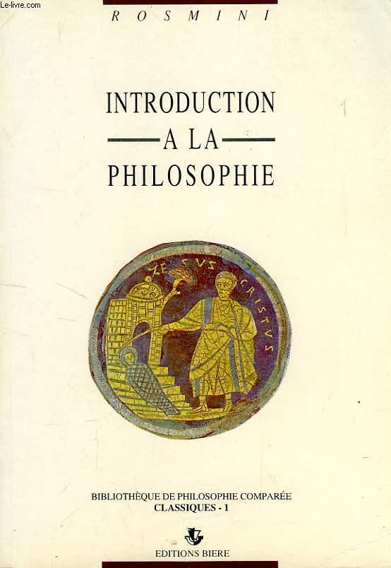 INTRODUCTION A LA PHILOSOPHIE