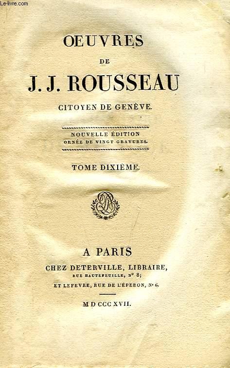 OEUVRES J.-J. ROUSSEAU, CITOYEN DE GENEVE, TOME X, DICTIONNAIRE DE MUSIQUE, A-M