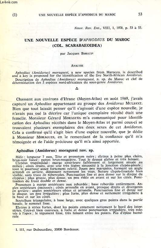 UNE NOUVELLE ESPECE D'APHODIUS DU MAROC (COL. SCARABAEOIDEA)