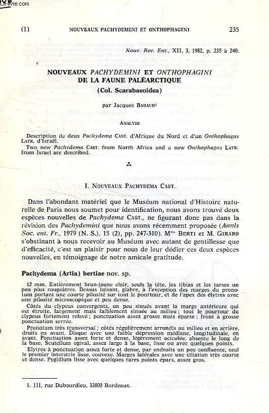 NOUVEAUX PACHYDEMINI ET ONTHOPHAGINI DE LA FAUNE PALEARCTIQUE (COL. SCARABAEOIDEA)