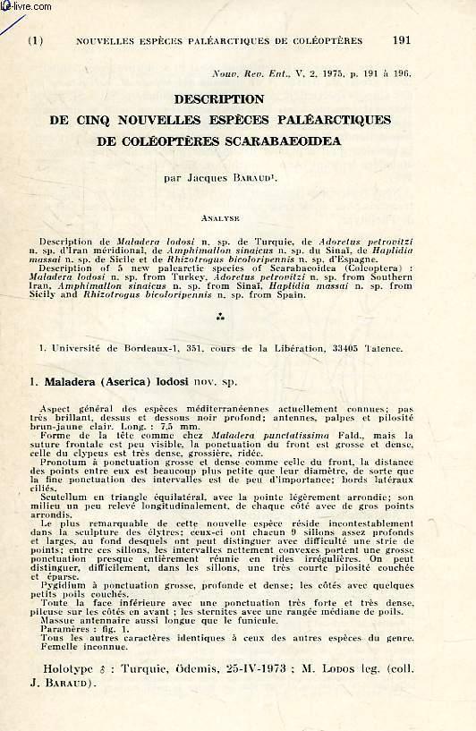 DESCRIPTION DE 5 NOUVELLES ESPECES PALEARCTIQUE DE COLEOPTERES SCARABAEOIDEA
