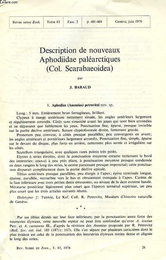 DESCRIPTION DE NOUVEAUX APHODIIDAE PALEARCTIQUES (COL. SCARABAEOIDEA)