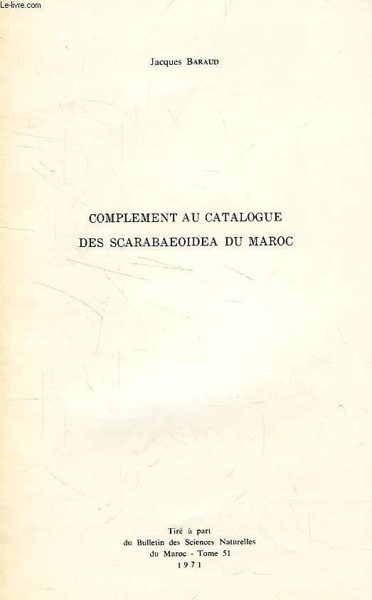 COMPLEMENT AU CATALOGUE DES SCARABAEOIDEA DU MAROC