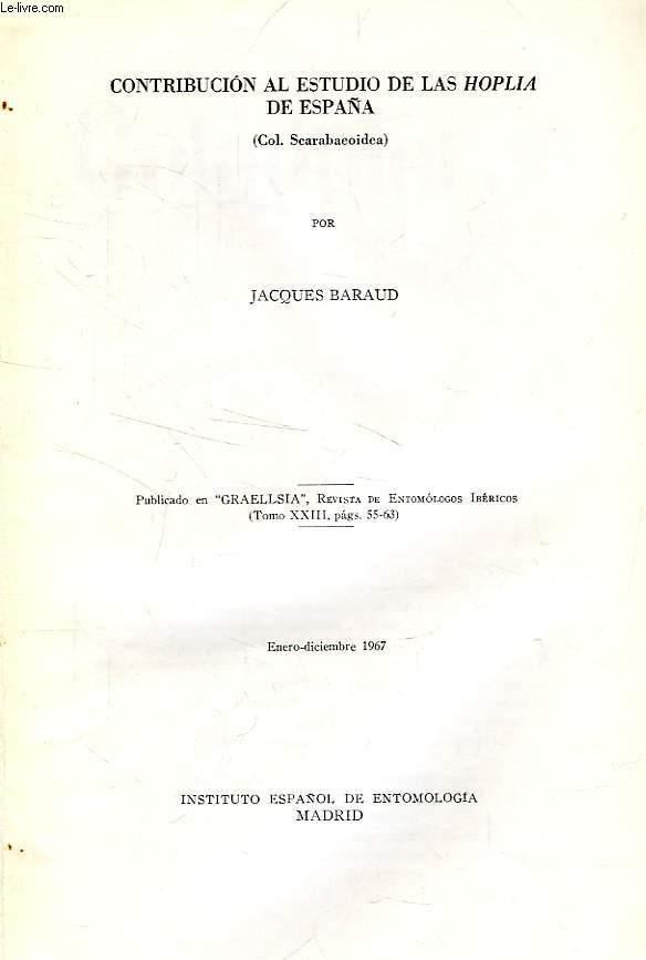 CONTRIBUCION AL ESTUDIO DE LAS HOPLIA DE ESPAÑA (COL. SCARABAEOIDEA)