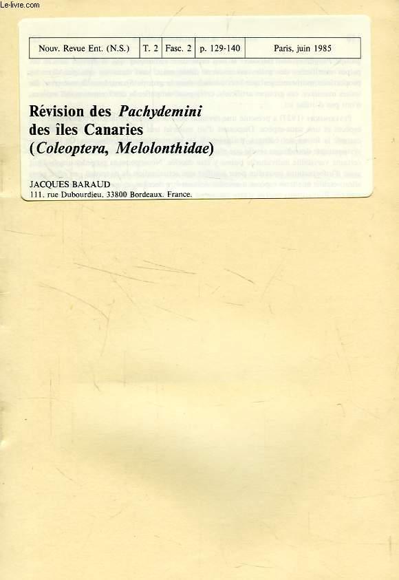 REVISION DES PACHYDEMINI DES ILES CANARIES (COL. MELOLONTHIDAE)