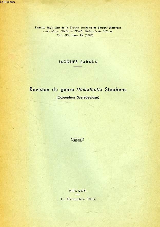 REVISION DU GENRE HOMALOPLIA (COL. SCARABAEIDAE)
