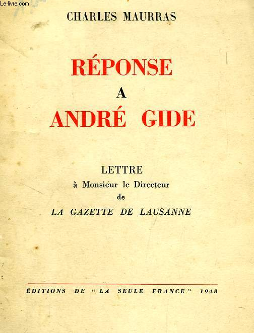 REPONSE A ANDRE GIDE