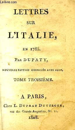 LETTRES SUR L'ITALIE EN 1785, TOME III