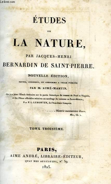 ETUDES DE LA NATURE, TOME III
