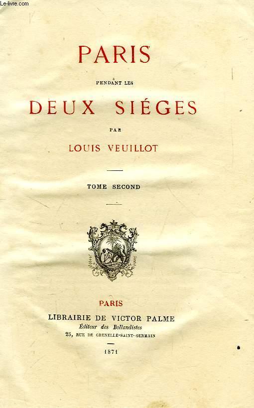 PARIS PENDANT LES DEUX SIEGES, TOME II