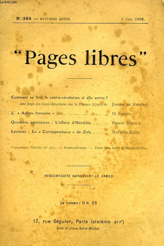'PAGES LIBRES', 8e ANNEE, N° 388, JUIN 1908