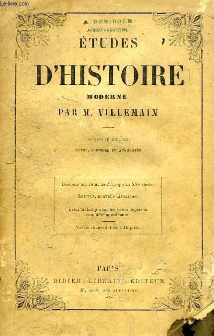 ETUDES D'HISTOIRE MODERNE