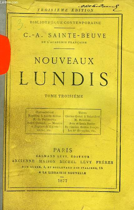 NOUVEAUX LUNDIS, TOME III