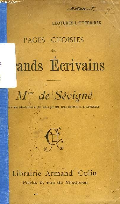 PAGES CHOISIES DES GRANDS ECRIVAINS, MADAME DE SEVIGNE